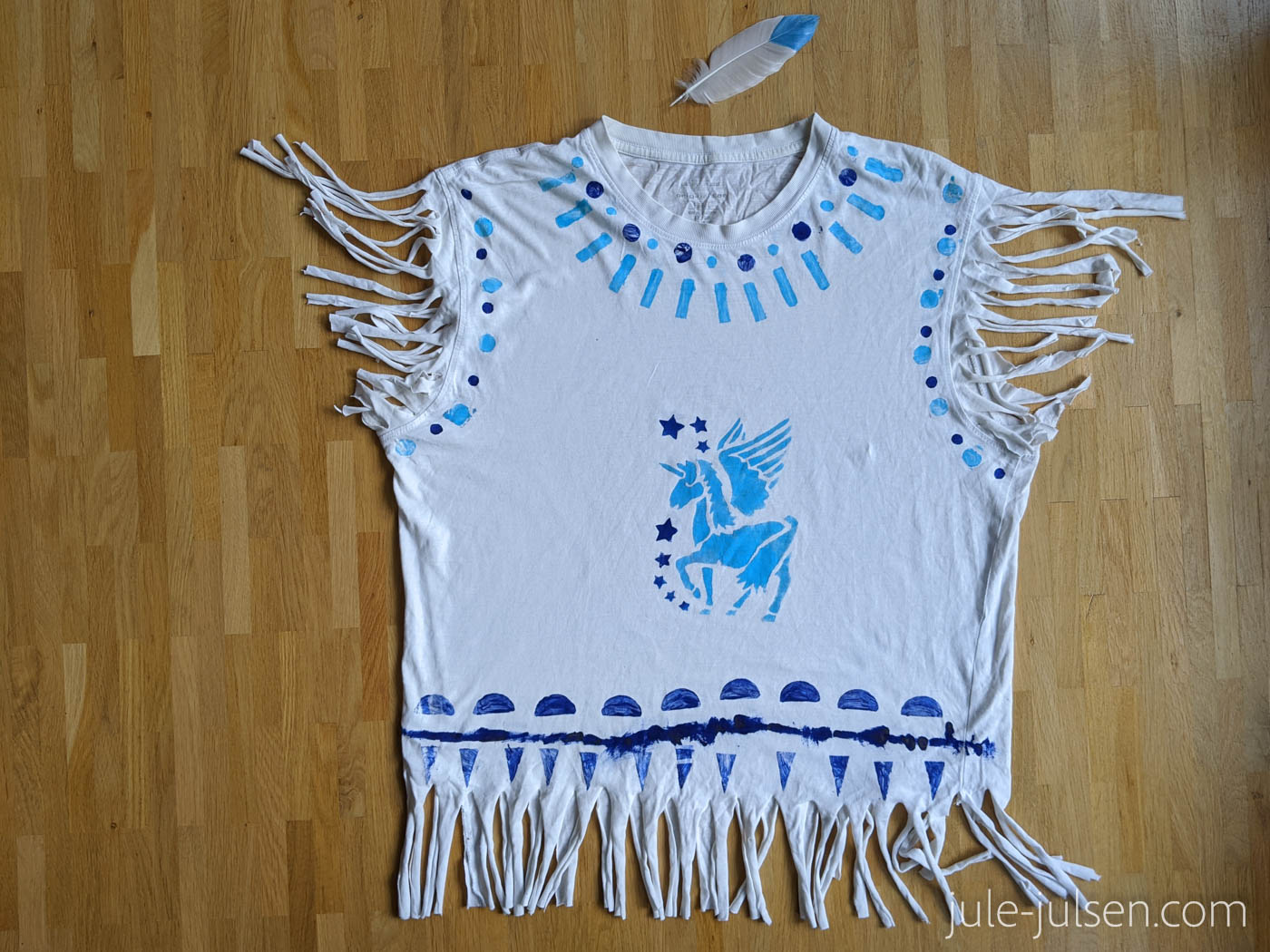 diy Faschingskostuem Indianer aus altem T-Shirt